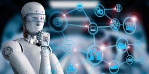 robot analizando estadísticas logística